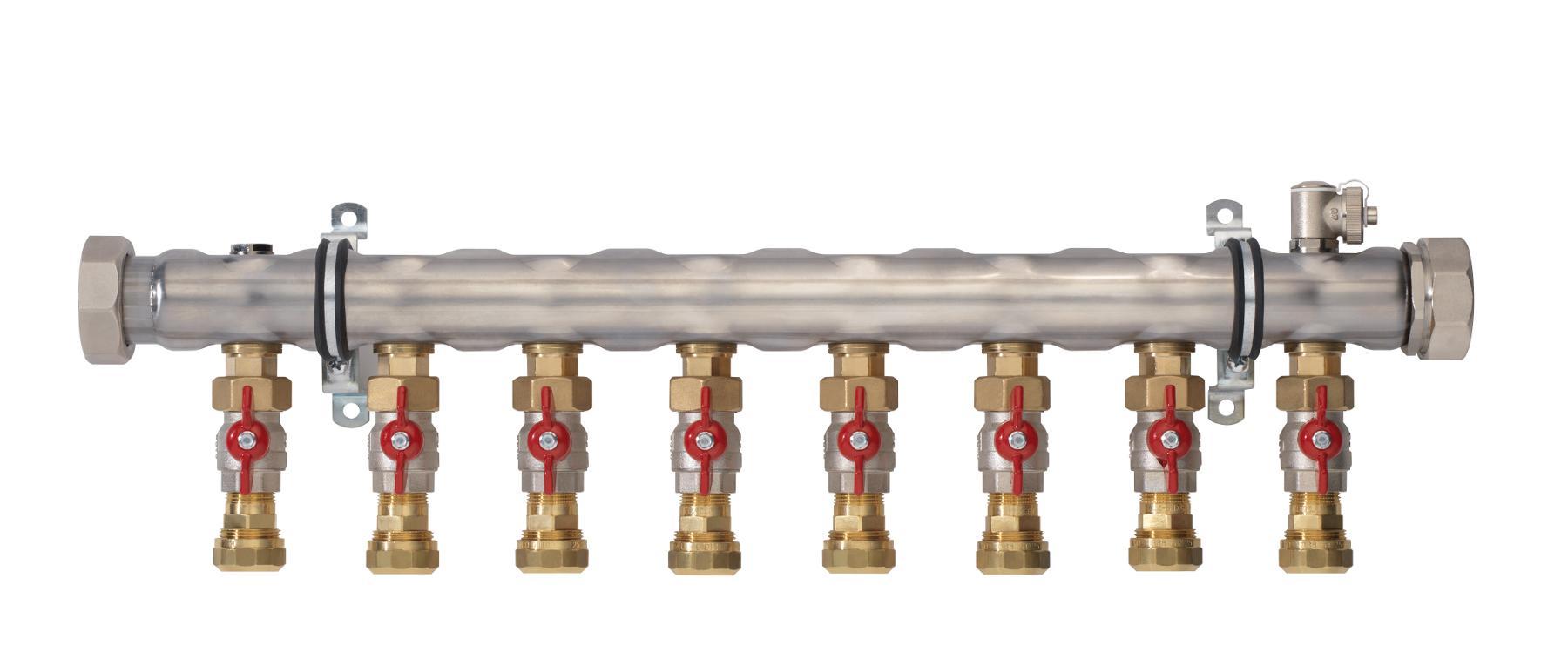 Промышленный коллектор с регулирующими вентилями на 3 контура